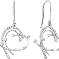 Round Diamond Ladies Fashion Heart Earrings in 14k White Gold 0.31 ctw