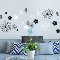 Black and White Flower Wall decal