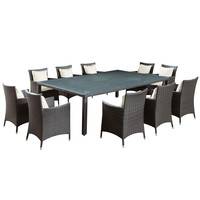 Outdoor Wicker Dining Table and 10 Chair Set