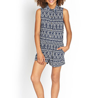 FOREVER 21 GIRLS Tribal Print Romper (Kids) Navy/Ivory