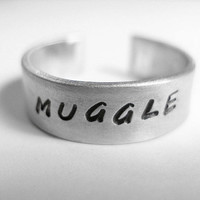 Harry Potter Ring, Muggle, Hand Stamped Aluminum Ring