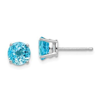 14k White Gold 6 mm Blue Topaz Earrings