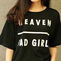 Black Heaven Bad Girls Print Short Sleeve Graphic T-shirt