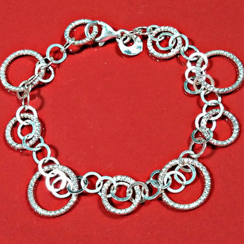 Silver Bracelet Chain Sterling Circles in Multiple Sizes Signed 925 Italy Comfortable Lightweight Sparkling Textured Circles Smooth Feel