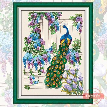 Ribbon Embroidery  Peacock Needlework Sewing Crafts Cross Stitch Kit  F-0024