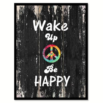 Wake up be happy 2 Quote Saying Canvas Print with Picture Frame Home Decor Wall Art