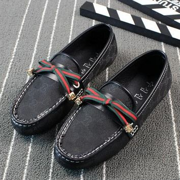 GUCCI Trending Women Personality Striped Bows Sing Shoe Bean Shoe Flat Canvas Shoes Sandals Black