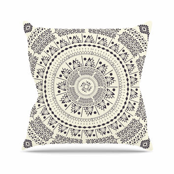 "Famenxt ""Swadesi Soft Boho Mandala"" Beige Illustration Outdoor Throw Pillow"