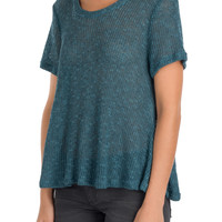 Teal Knit Swing Top-FINAL SALE