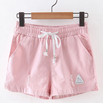 Pink Pockets Ripped Hole Elastic Tie-Waist Shorts