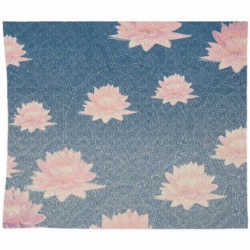 Lotus Tapestry Blue and Soft Pink Gradient Bohemian Decor