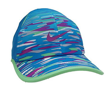 Nike Feather Light Printed Kids' Adjustable Hat (Youth, Island Blue/White/Black/Island Blue)