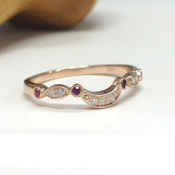 Diamond Wedding Ring,14K Rose Gold,Round Cut Ruby and Diamond,Art Deco Antique,Eternity Matching Band,Anniversary Ring,Fine Ring,Stackable