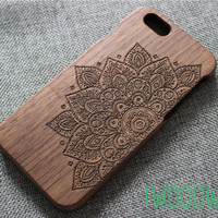 mandala floral custom iphone 6 case, iphone 5 case wood, wood iphone 6 case,iphone 6 cover, iphone 6 case wooden,iphone 6 case floral