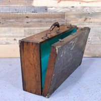 Vintage Suitcase, Upcycled Suitcase, Antique Wood Toolbox, Wooden Tool Box