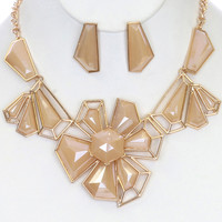Lucite Stone Earring & Necklace Set