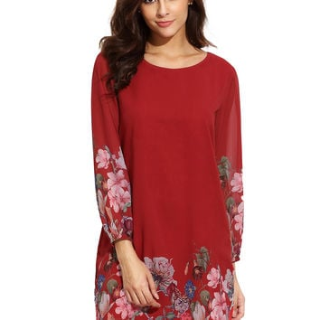 Red Floral Print Lantern Sleeve Shift Dress