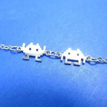 Atari Space Invaders Arcade Themed Alien Pixel Charm Bracelet in Silver