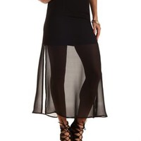 Double Slit Chiffon Maxi Skirt by Charlotte Russe