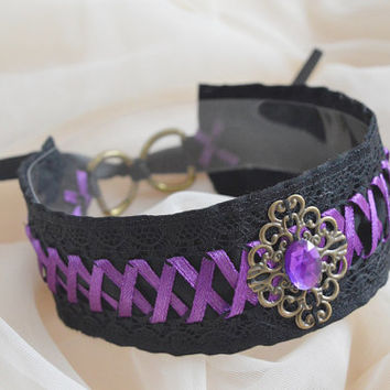 Evil queen - black witch choker with resin stone and purple violet lacing - gothic lolita kitten play collar