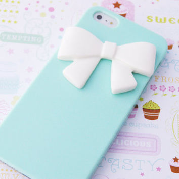 IPHONE 5 Elegant Seafoam Green Blue Ribbon Bowtie Candy Colors Rainbow Cell Phone Case