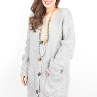 Grey Cardigan with Oversized Front Buttons and Pockets