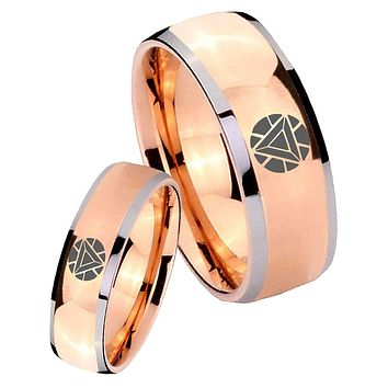 His Hers Rose Gold Dome Iron Man Art Reactor Two Tone Tungsten Wedding Rings Set