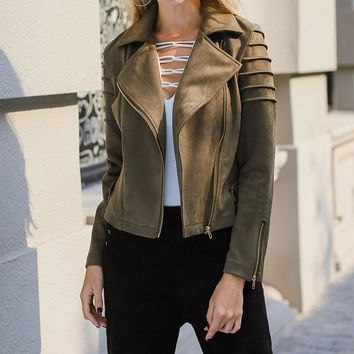 Suede Jacket Rock Office Lady Pocket Asymmetric Zip Placket Biker Jacket Autumn Workwear Modern Lady Women Coat Outerwear