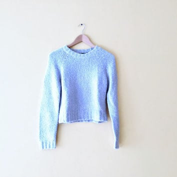 Vintage 90s Cropped Fuzzy Sweater - Fuzzy Crop Top Fuzzy Mohair Sweater Fuzzy Crop Sweater Baby Blue Sweater 90s Crop Top Cropped Sweater