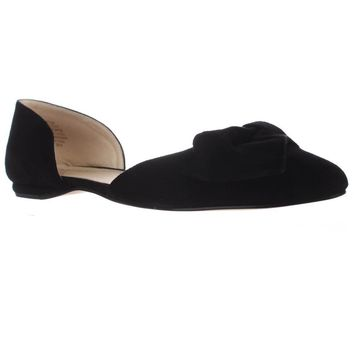 Nine West Stefany Wrap Toe D'Orsay Ballet Flats, Black, 6.5 US