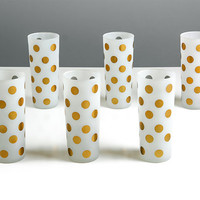 Vintage White Frosted Glasses with Gold Polka Dots /  Set of Six /  Mid Century Modern Barware Drinking Glass / Atomic Bar