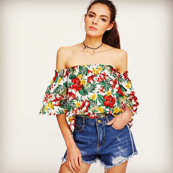 Tops Summer Sexy Strapless Print Casual Vacation Shirt [11612165007]
