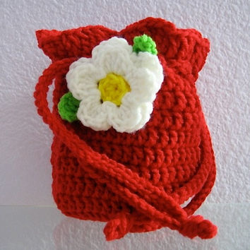 Red Crocheted Girl's Drawstring Flower Purse by TimeForCrochet