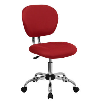 Modern Mid-Back Desk Chair in Red Mesh