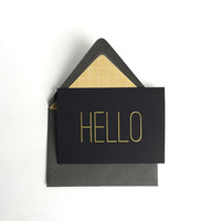 Hello - A1 Blank Greeting Card - Black Gold Grey Gray,  Minimal - Note Card - Handmade Card, Modern, Simple, any  occasion, thank you card