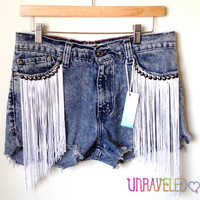 Fringe & Stud High Waist Levis Shorts (MEDIUM) // 2006
