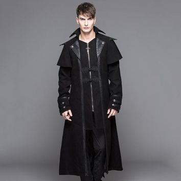 Devil Fashion Steampunk Autumn Winter Men's Gothic Long Jackets Punk Black Turn-down Collar Fashion Overcoats Handsome Jackets