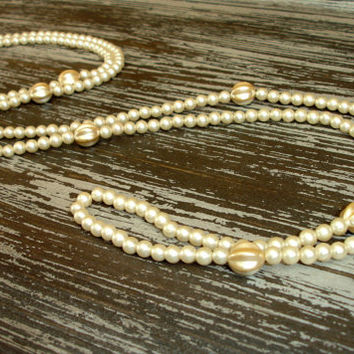 Long Vintage Ivory Pearl Necklace, 54 Inch, Opera Length, Great Gastby Flapper Jewelry, Faux Glass Pearls, Costume Estate Jewelry