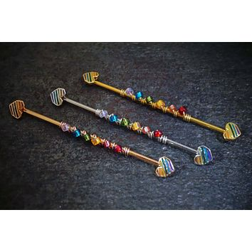 Heart Rainbow Industrial Barbell 16 Gauge