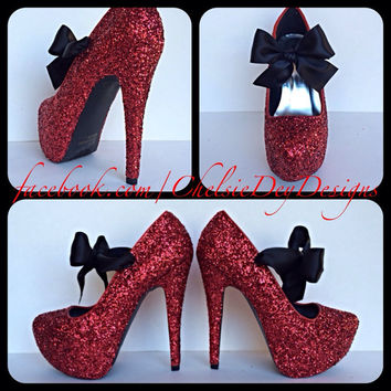 Scarlet Glitter High Heels with Black Bows