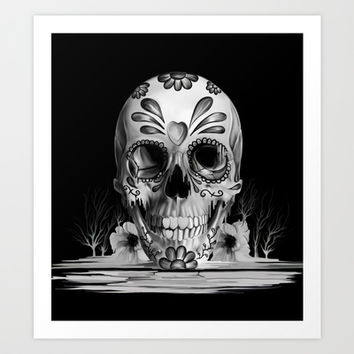 Pulled sugar, day of the dead skull Art Print by Kristy Patterson Design