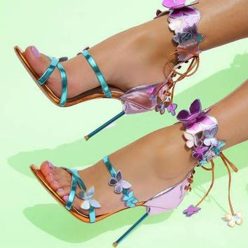 Mixed Colors Laser Leather Butterfly Sandals Sweet Style Metal Heel Sandals Stiletto