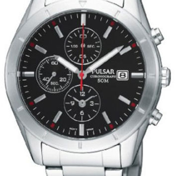Pulsar PF8331 Men's Chronograph Stainless Steel Black Dial Watch
