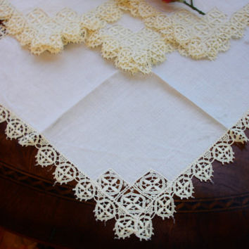 French linen napkins with hand crocheted lace edging, Set of four napkins, Edwardian napkins, Lunch napkins, Tea napkins, 12x11""
