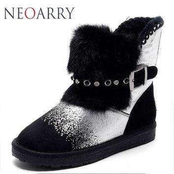Neoarry Genuine Leather Women Snow Boots Russia Ankle Boots Winter Warm Wool Fur Ladies Shoes Thick Heel Plus Size 34-43 LT58