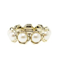 Gold Jumbo Pearl Stretch Bracelet by Charlotte Russe