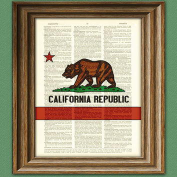 California state flag bear and star Republic by collageOrama