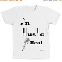 Sale In Music I Heal | Not Zero Yet Original T-Shirt | Unisex Music Inspired Tee | Printed on American Apparel Fine Jersey T-Shirt