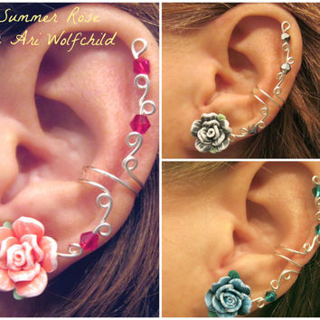 "Prom 1 Cartilage Ear Cuff ""Summer Rose"" Color Choices Wedding Bridal No Piercing Helix Conch"
