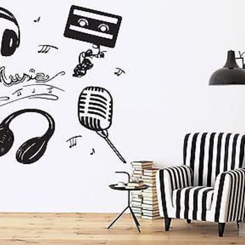Vinyl Wall Sticker Attributes Microphone Headphones Music Cassette Notes (n324)